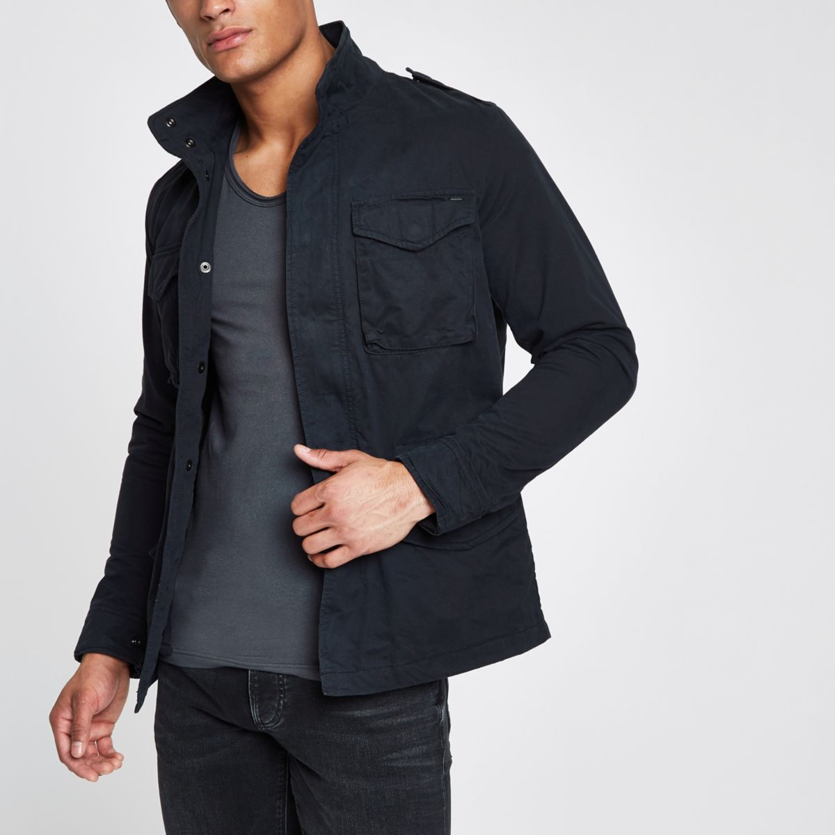 Jack & Jones Premium Oscar navy field jacket