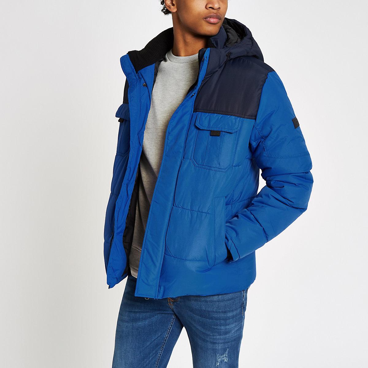 Jack & Jones blue hooded puffer jacket