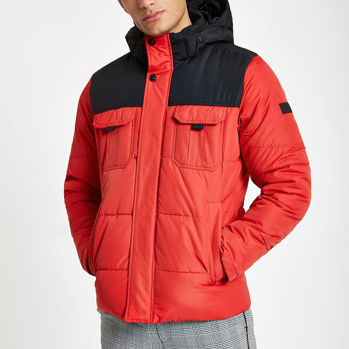 Jack & Jones red block hooded puffer jacket