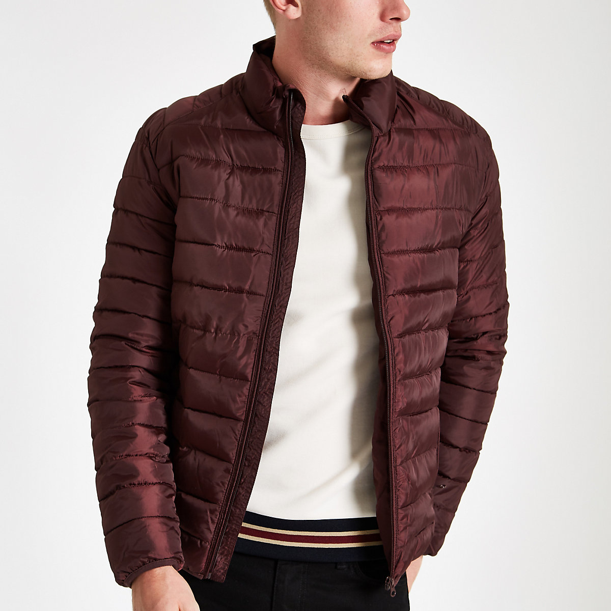Only & Sons burgundy puffer jacket