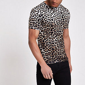 Brown slim fit leopard print T-shirt