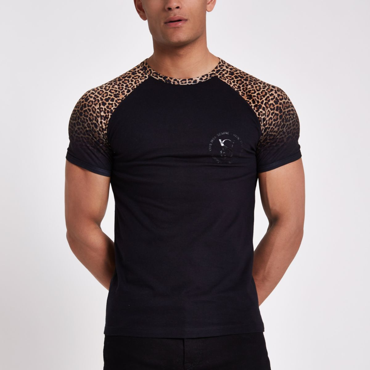 Black leopard print muscle fit raglan T-shirt