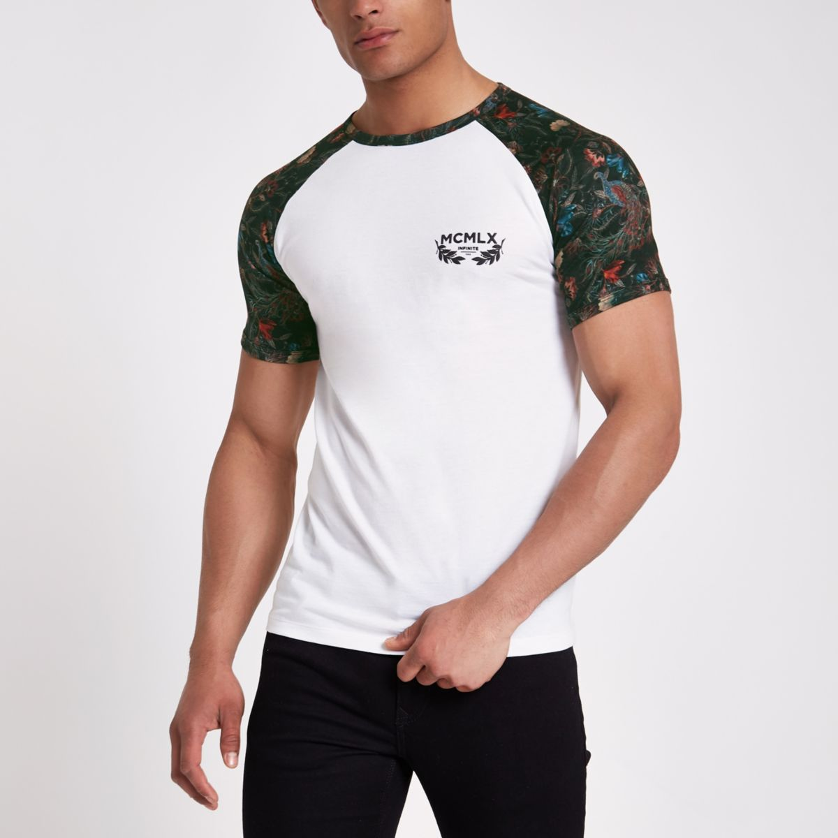 White 'MCMLX' muscle fit raglan T-shirt