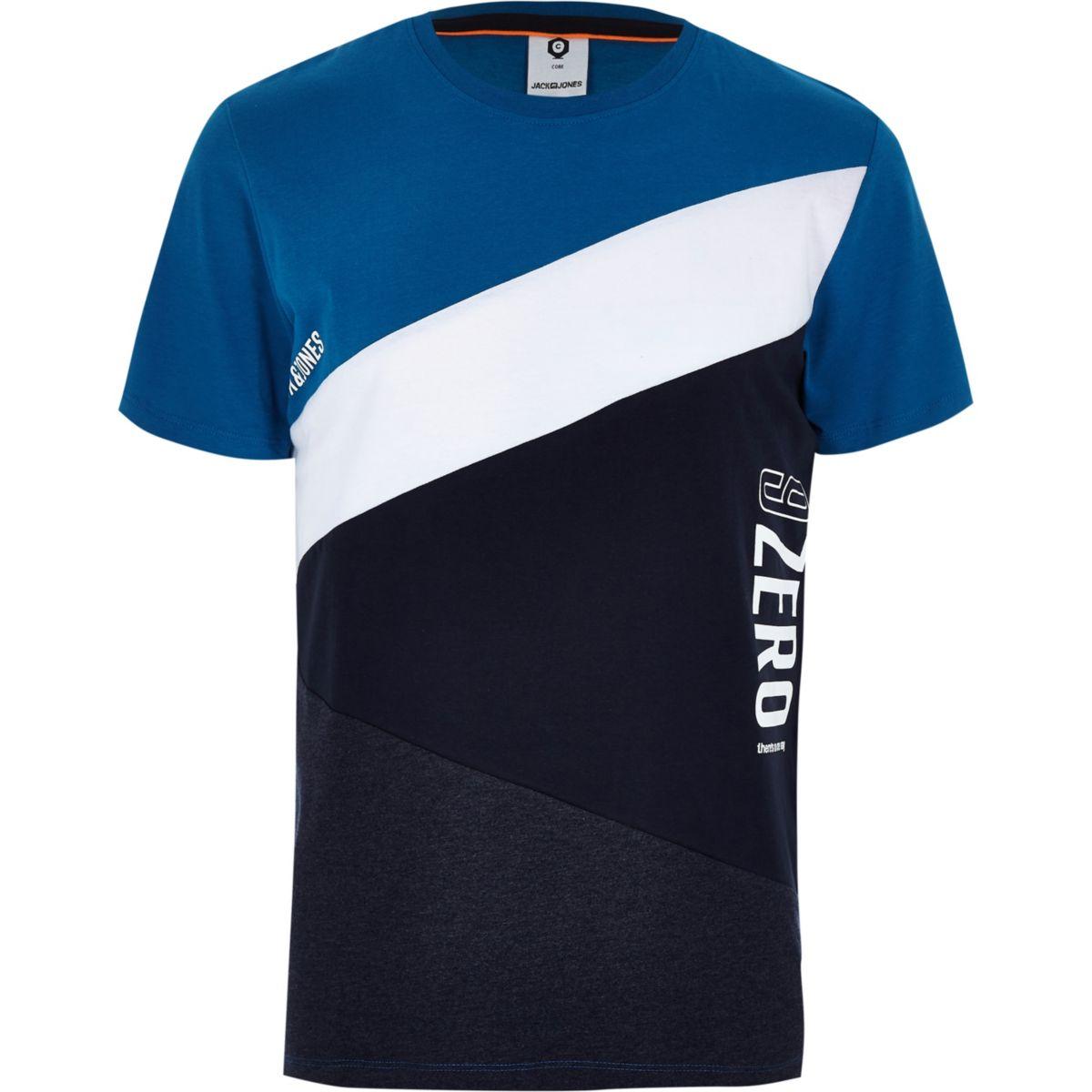 Jack & Jones blue color block T-shirt