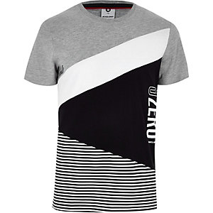 Jack & Jones grey colour block stripe T-shirt