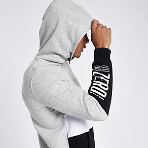 Jack & Jones – Sweat à capuche et encolure zippée gris colour bloc