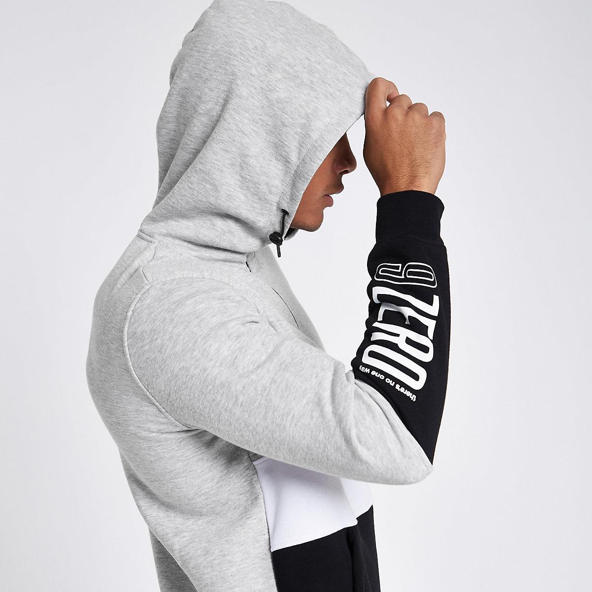 Jack & Jones grey color block half-zip hoodie
