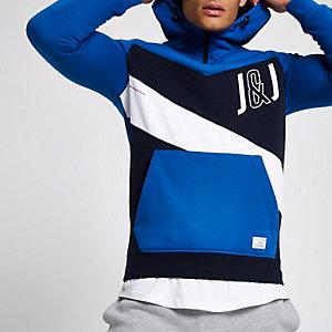 Jack & Jones blue colour block zip hoodie