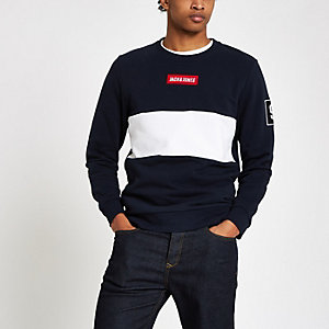 Jack & Jones – Sweat rayé bleu marine