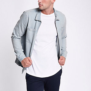 Light blue zip up denim shacket