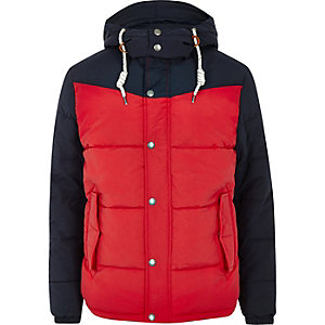Jack & Jones red hooded puffer jacket