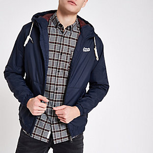 Jack & Jones navy hooded parka jacket