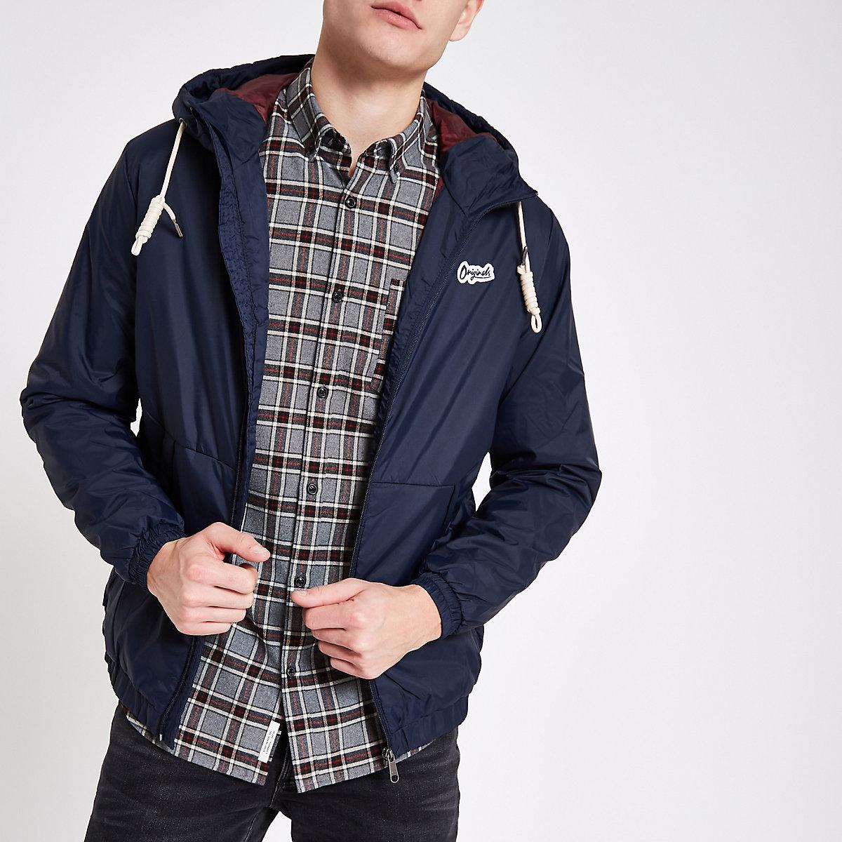 Jack & Jones navy hooded parka jacket