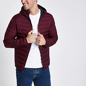 Jack & Jones Core burgundy padded jacket