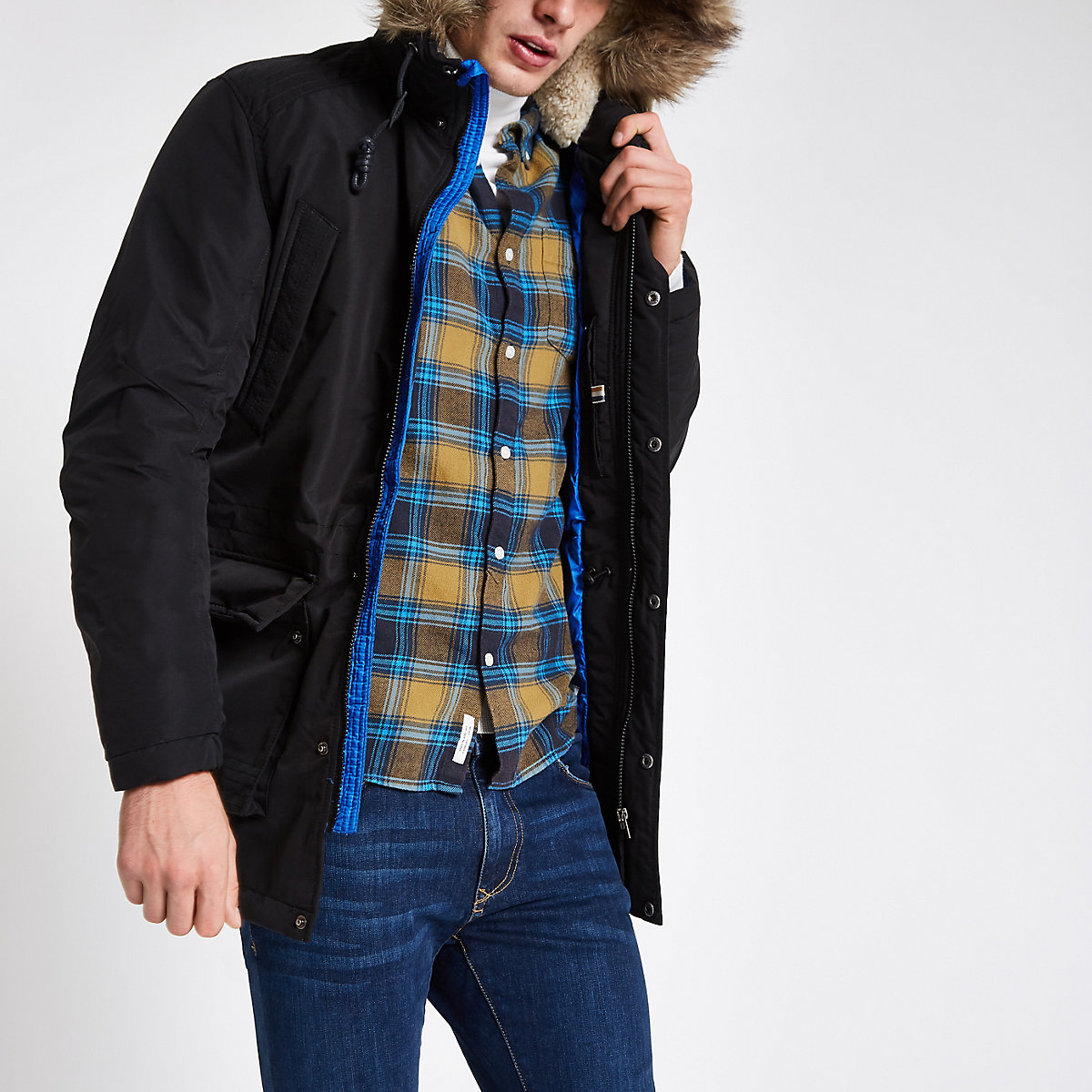 Jack & Jones Originals black parka jacket