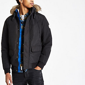 Jack & Jones black faux fur bomber jacket