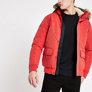 Jack & Jones red faux fur bomber jacket