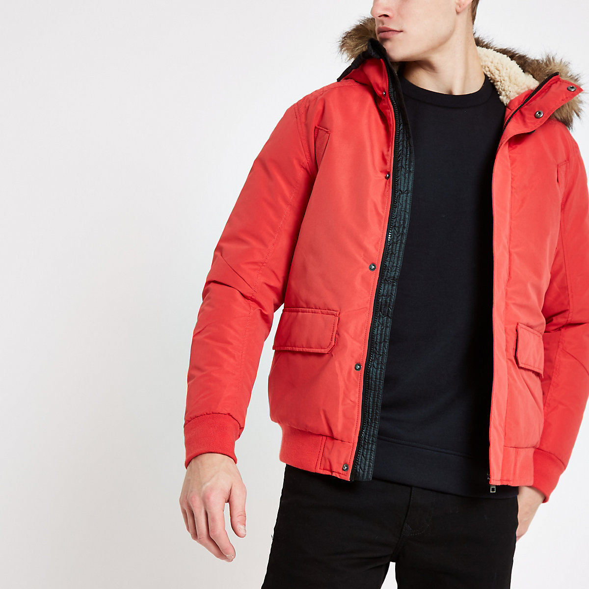 Jack & Jones red faux fur bomber jacket