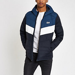 Jack & Jones Originals navy block puffer coat