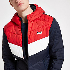 Jack & Jones Originals - Rode gewatteerde jas met kleurvlakken