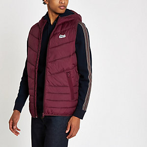 Jack & Jones burgundy puffer gillet
