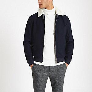 Jack & Jones black fleece lined bomber jacket