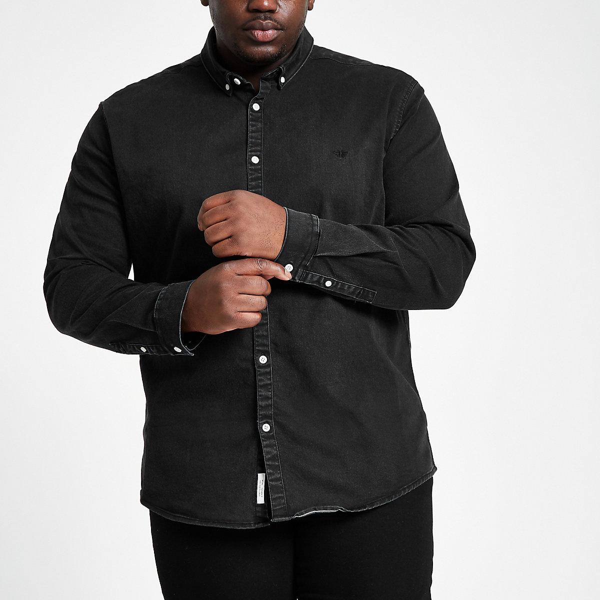 Big & Tall black muscle fit denim shirt