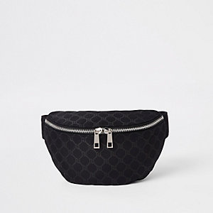 Zwarte gestreepte crossbodytas met RI-print