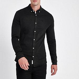 Zwart denim aansluitend overhemd met lange mouwen