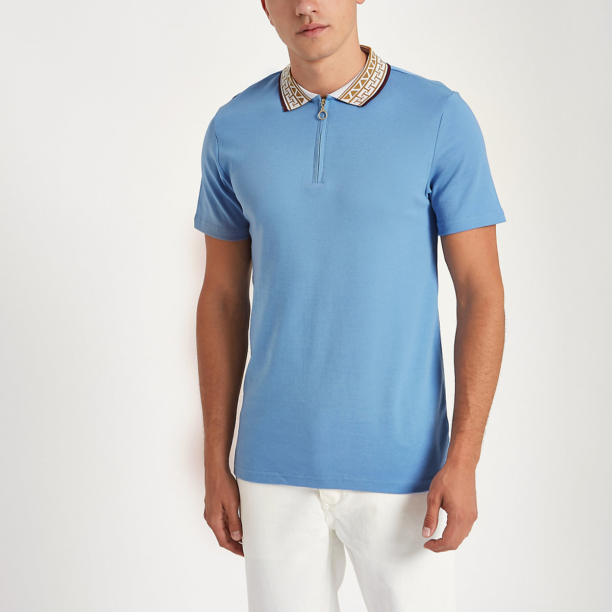 Blue baroque collar muscle fit polo shirt