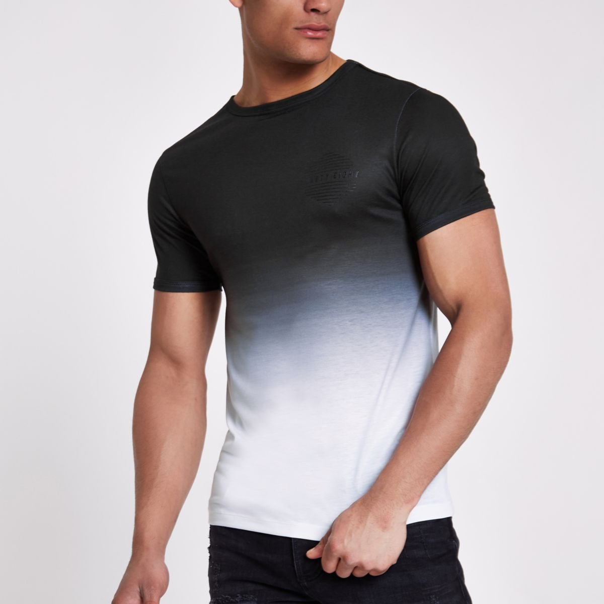 Black 'ninety-eight' fade muscle fit T-shirt