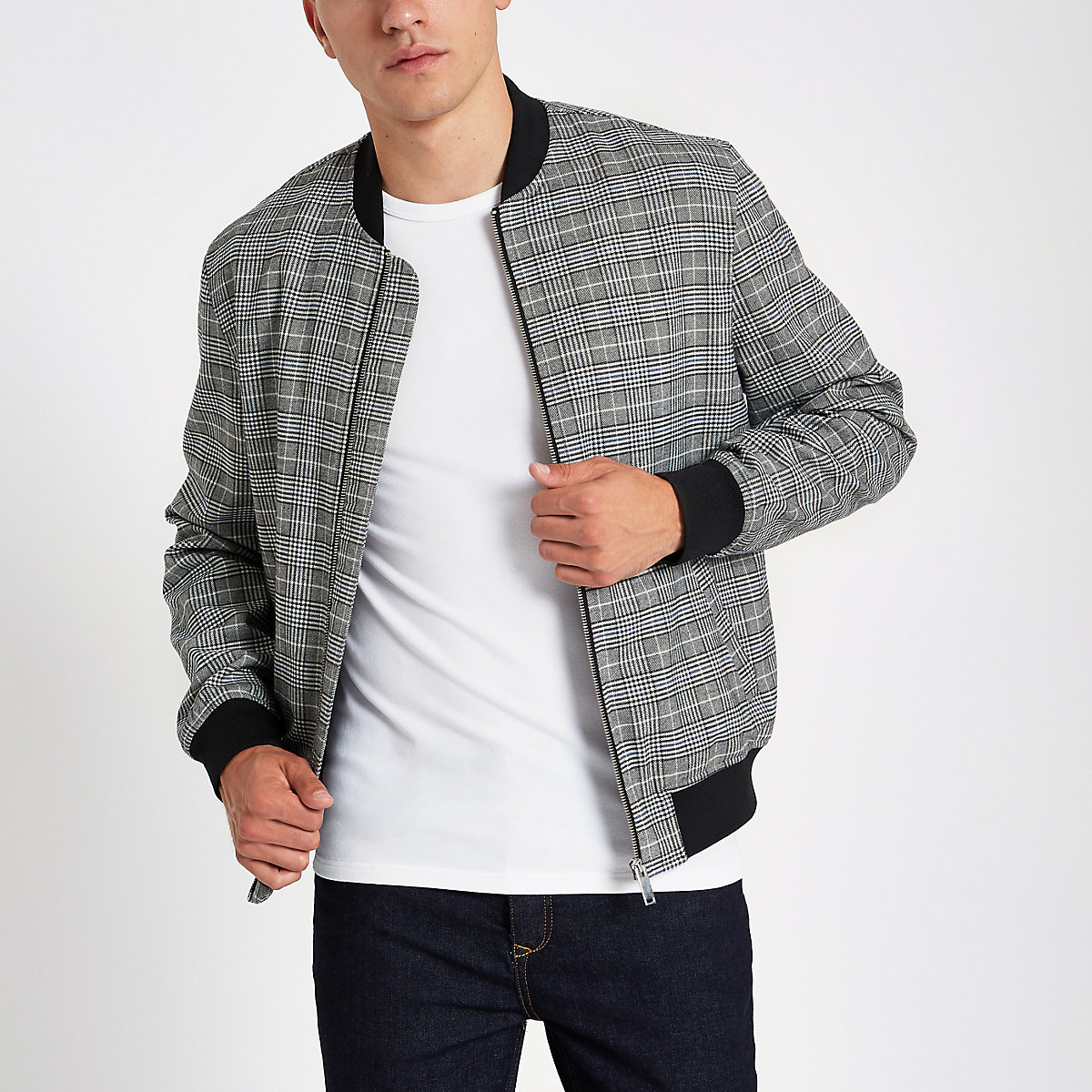 Grey check bomber jacket