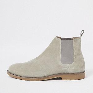 Kiezelkleurige suède chelsea boots