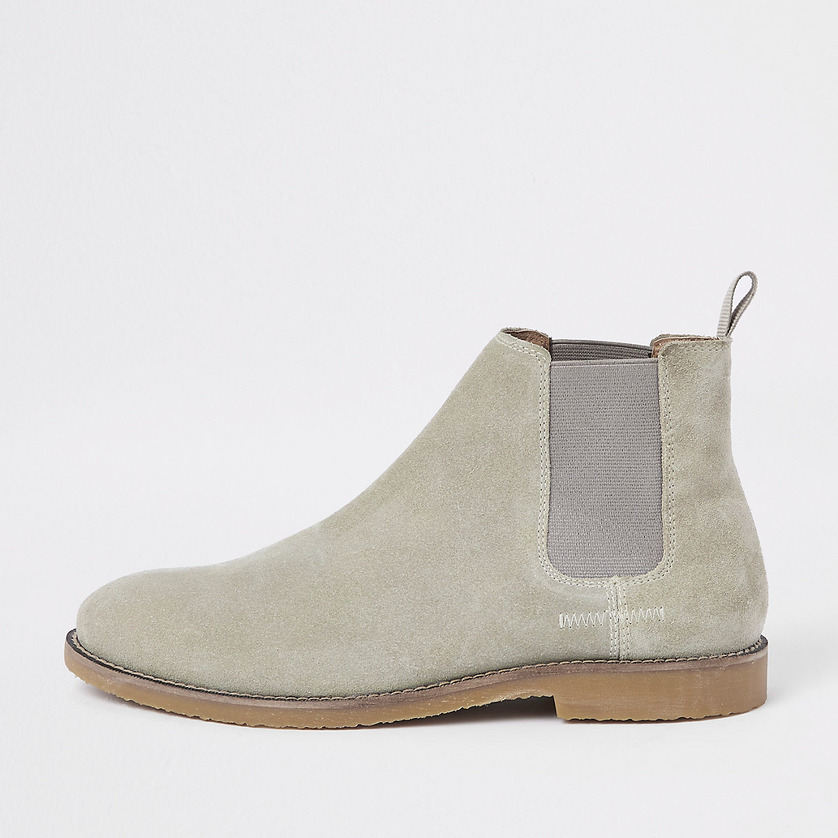 Stone suede chelsea boot