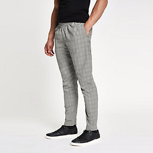 Bellfield grey check elasticated trousers