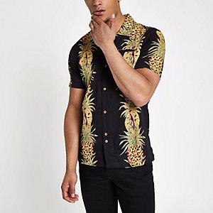 Bellfield - Zwart overhemd met ananasprint