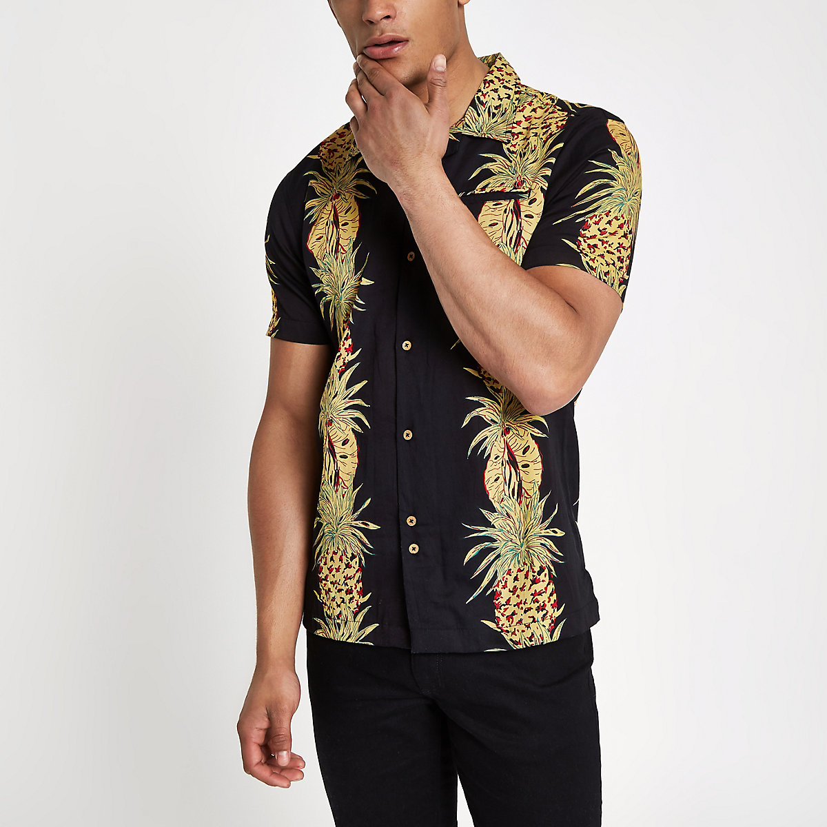 Bellfield black pineapple print shirt
