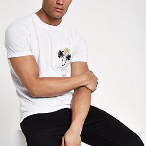 Bellfield - Wit geborduurd T-shirt met zak
