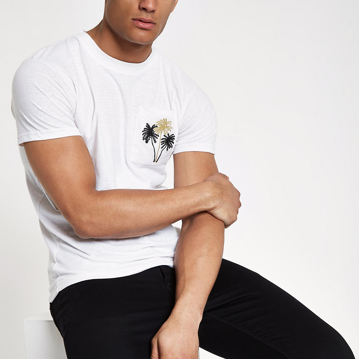 Bellfield white embroidered pocket T-shirt