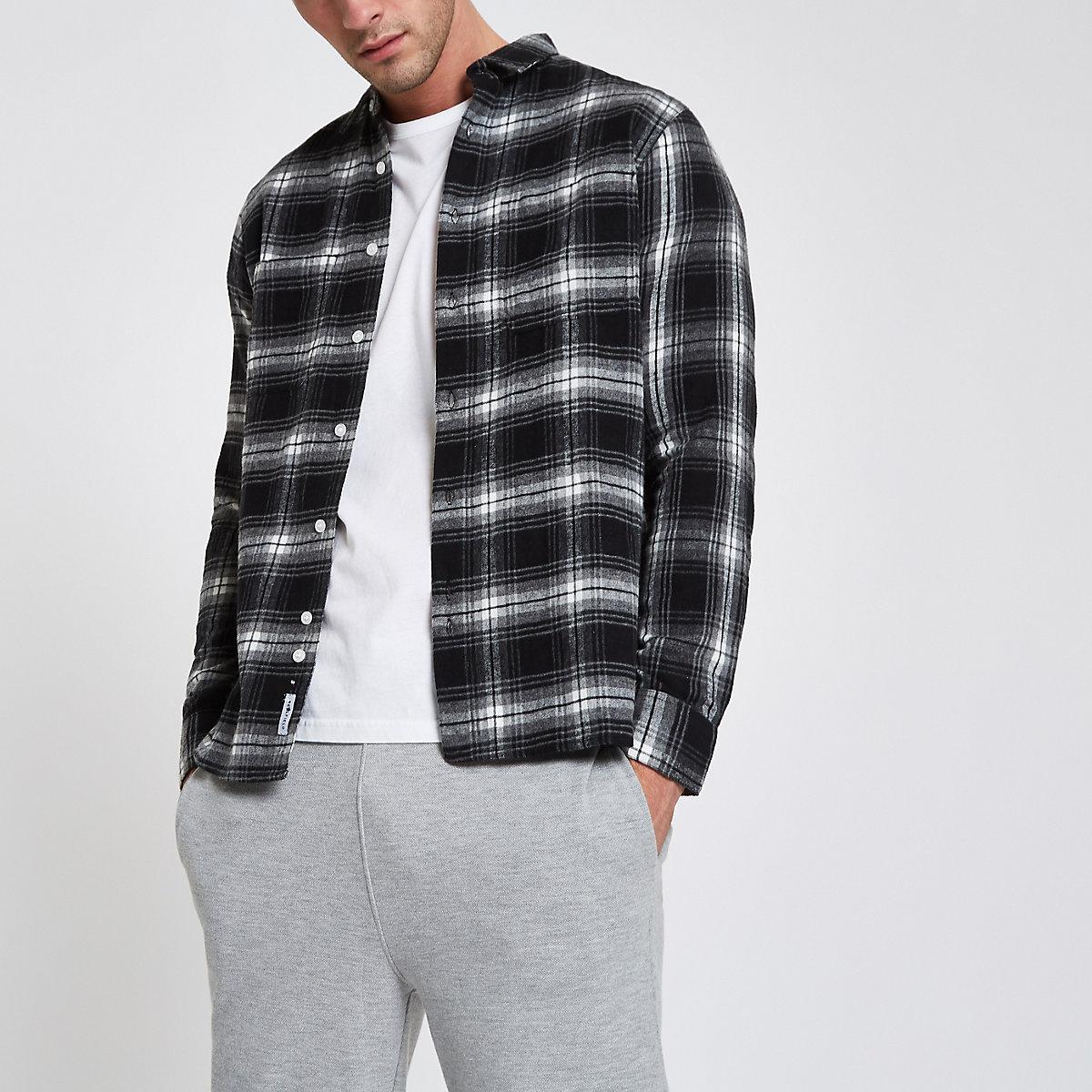 Bellfield black check print button-down shirt