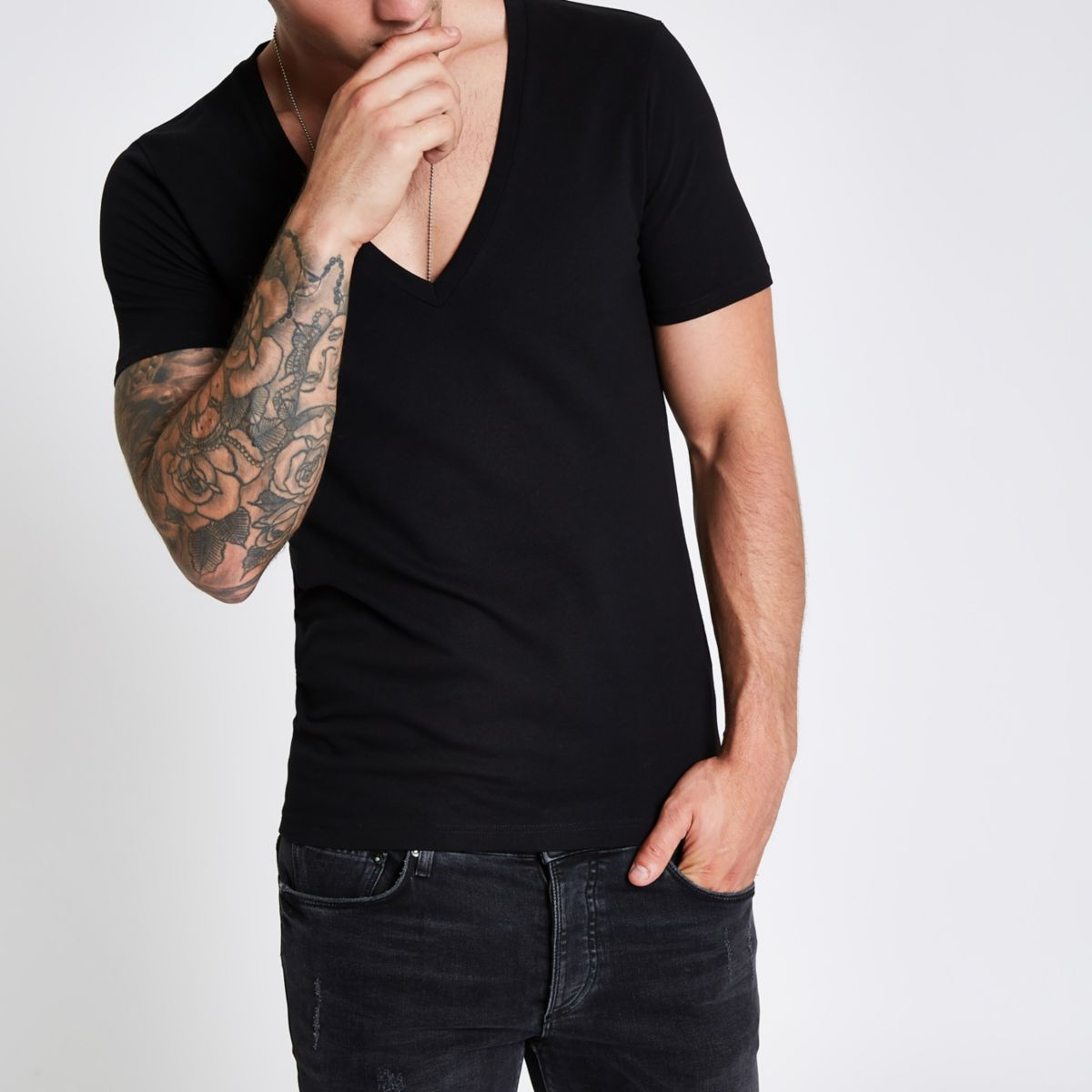 Black pique deep V neck muscle fit  T-shirt