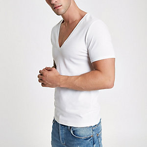 White pique deep V neck muscle fit T-shirt
