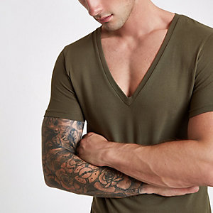 Khaki pique deep V neck muscle fit T-shirt