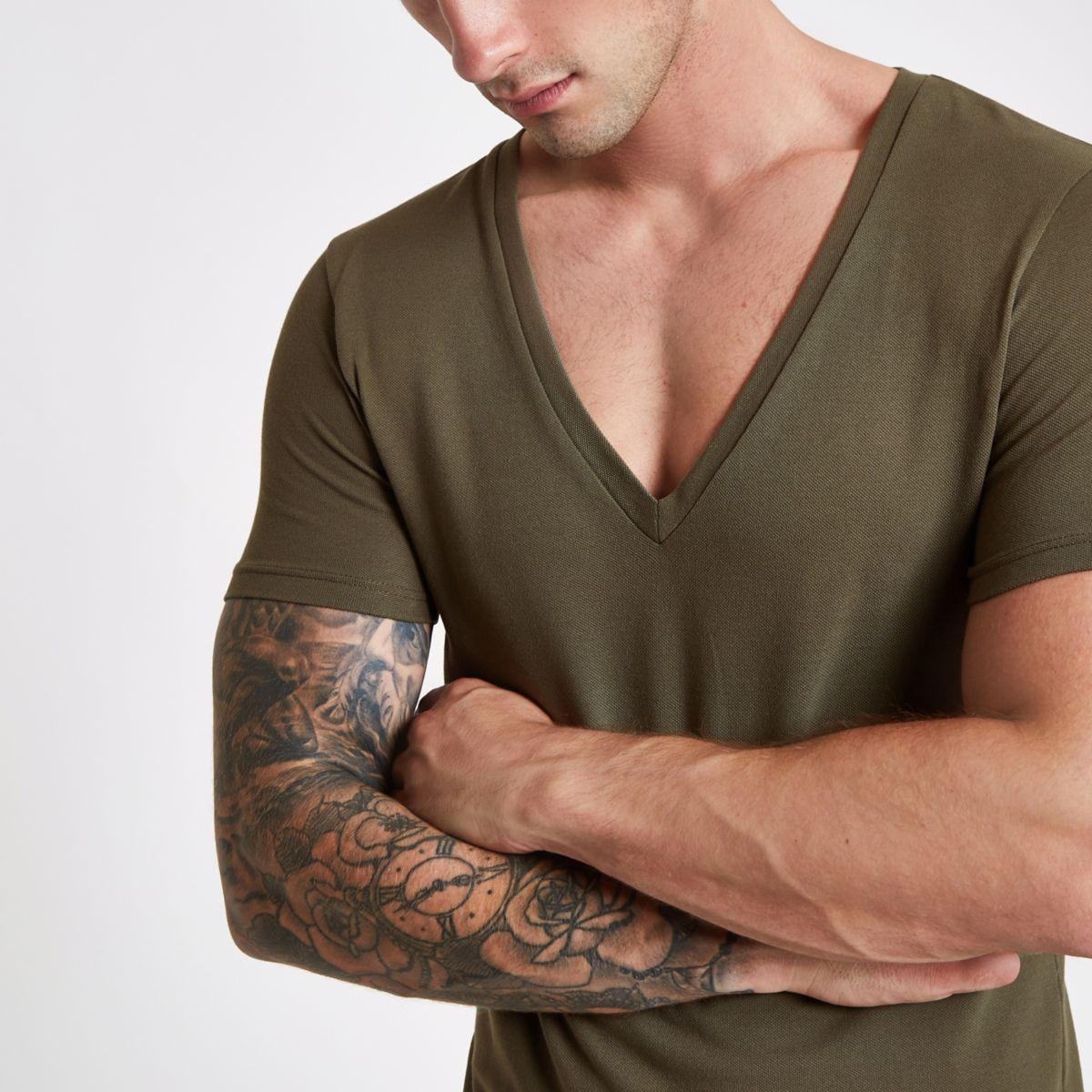 Khaki pique deep V neck muscle fit T-shirt