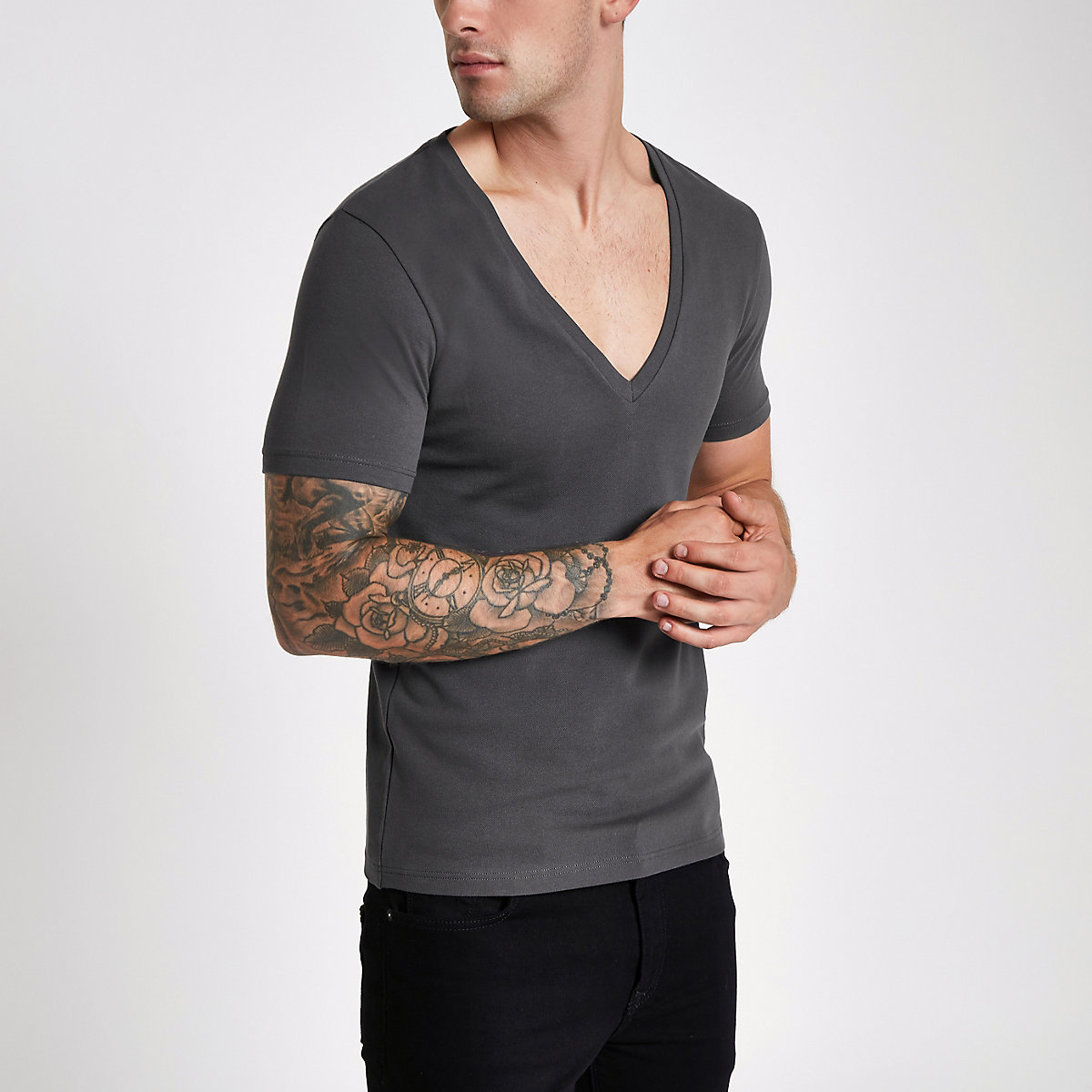 Grey pique deep V neck muscle fit T-shirt