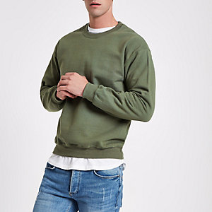 Dark green crew neck marl sweatshirt