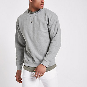 Grey crew neck marl sweatshirt