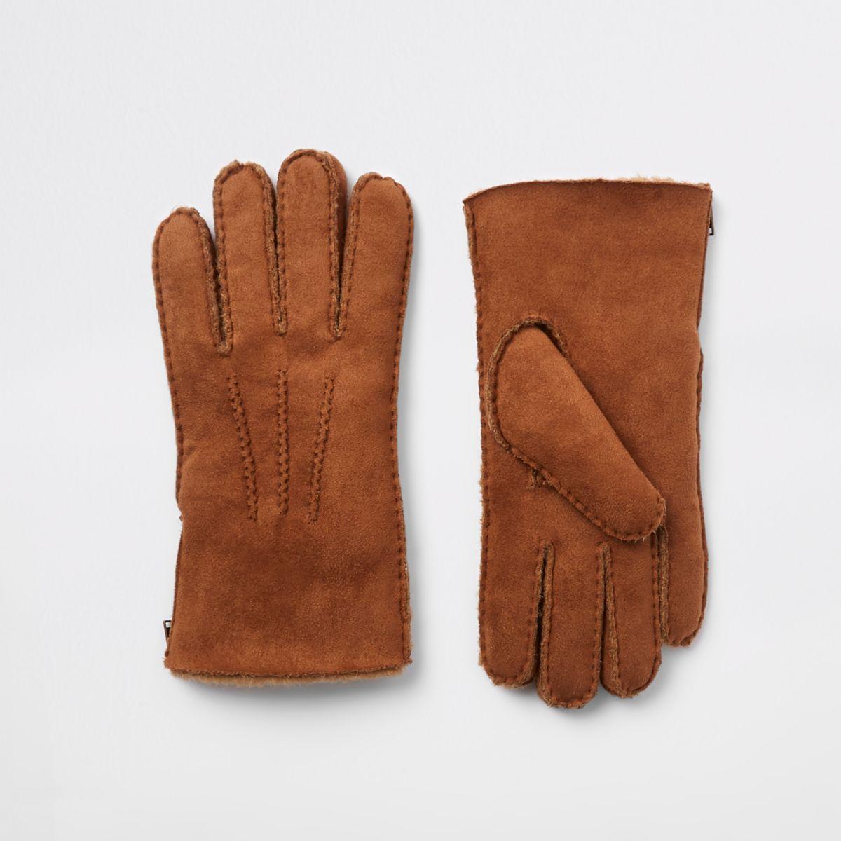 Tan suede fleece lined gloves