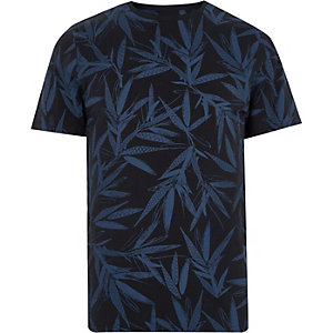 Only & Sons blue leaf print T-shirt