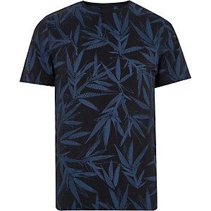 Only & Sons – T-shirt imprimé feuillage bleu